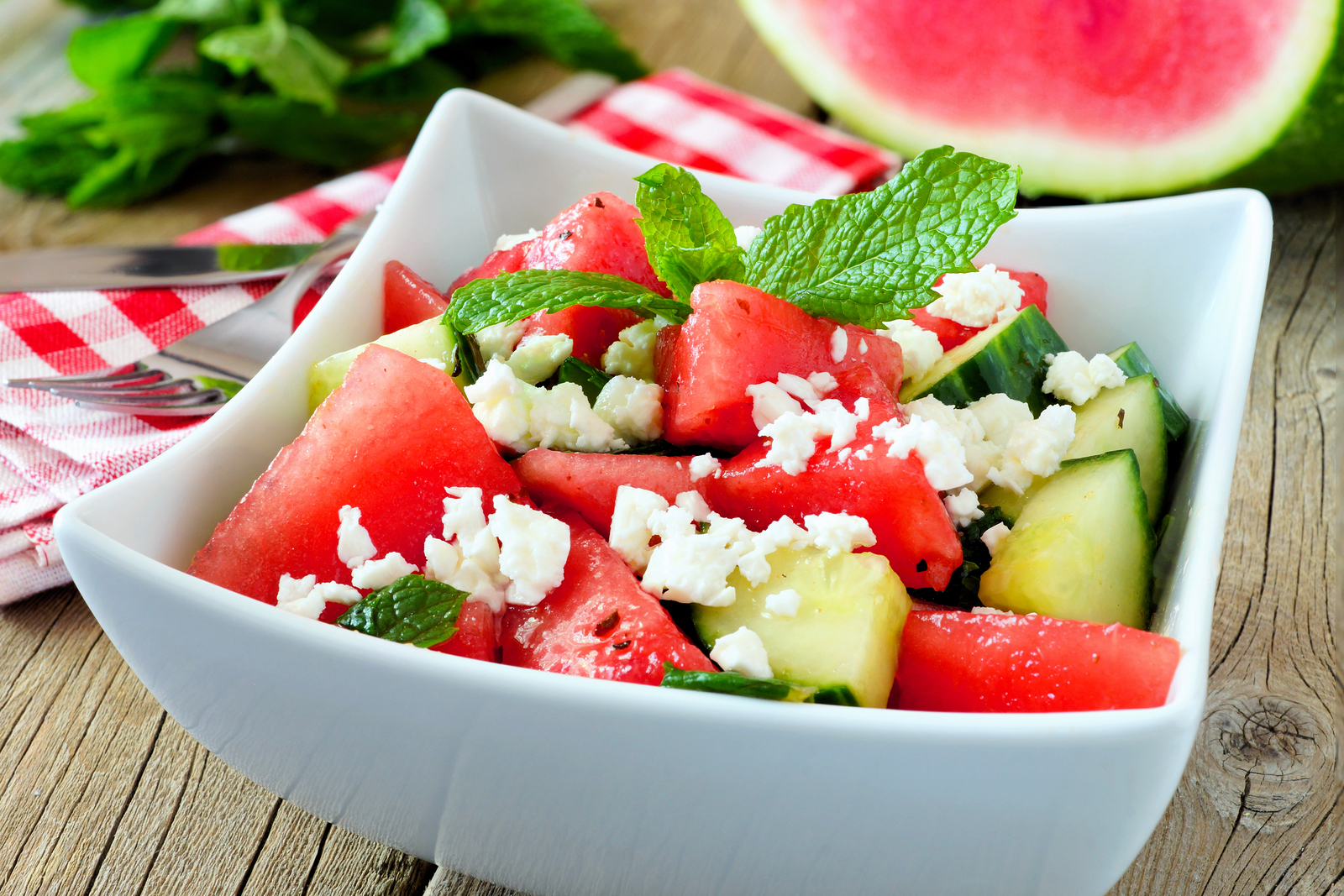 Delicious Watermelon, Cucumber And Feta Cheese Salad In Square B