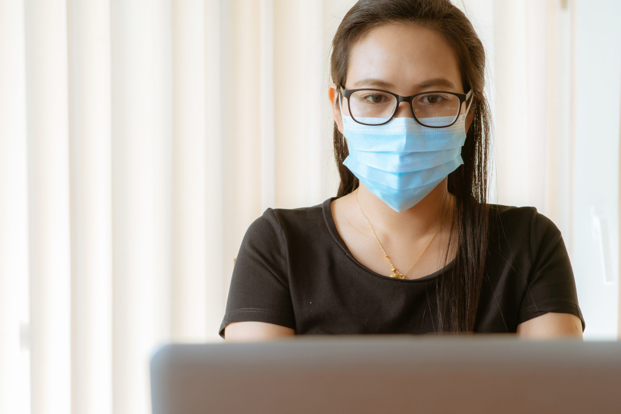 Woman With Face Mask Protection While Working, Coronavirus, Air