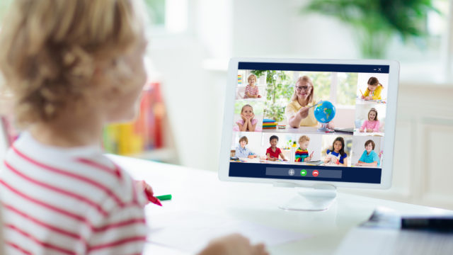 Online Remote Learning. School Kids With Computer Having Video C