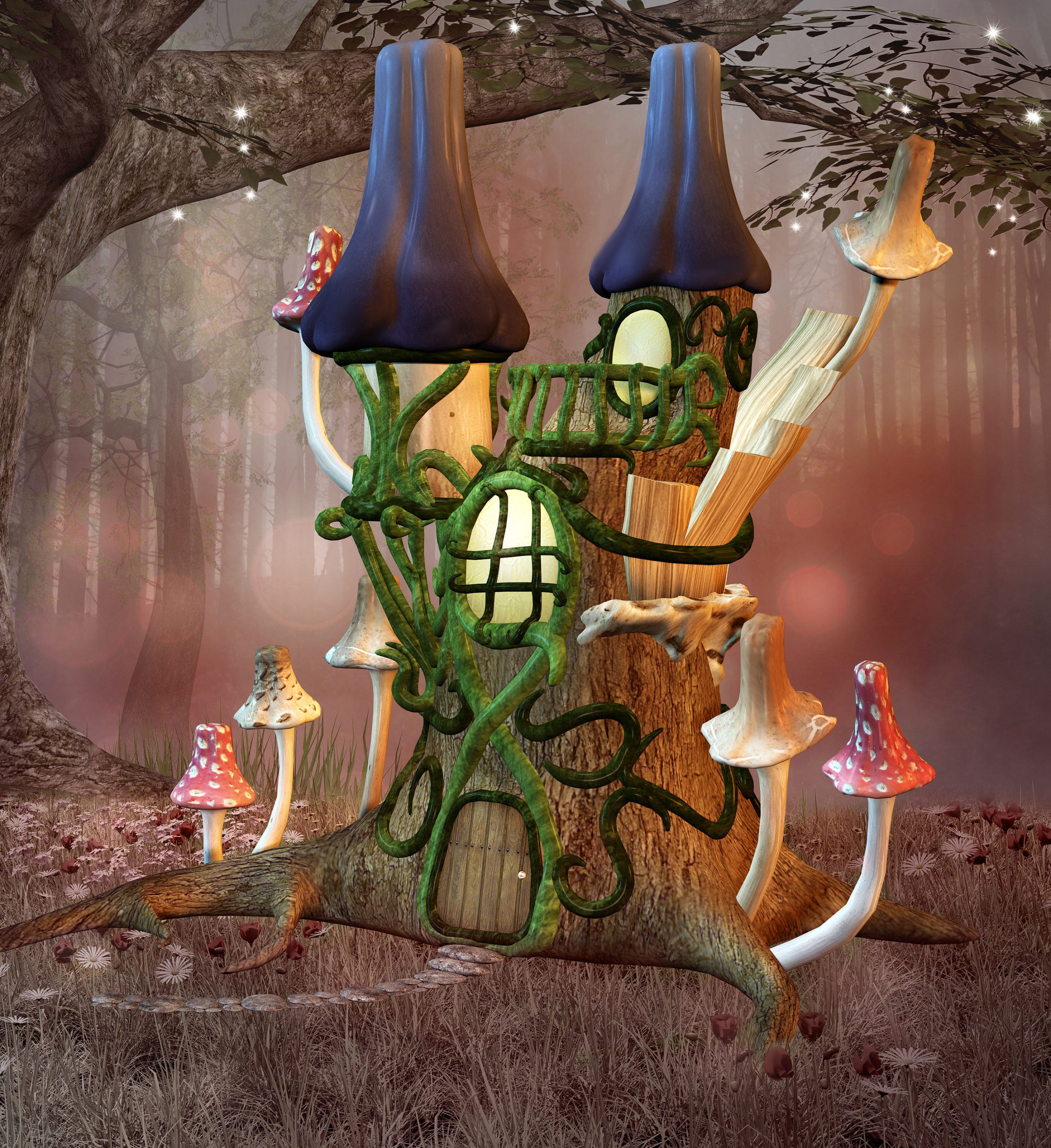 Fairy Tale Bizarre Fantasy Castle In A Glade With Mushrooms - 3d
