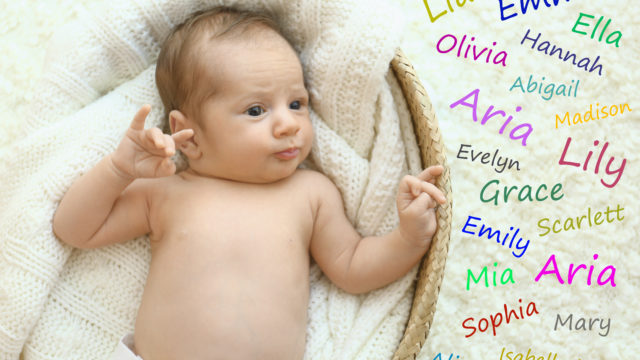 Choosing Name For Baby Girl. Adorable Newborn In Cradle, View Fr