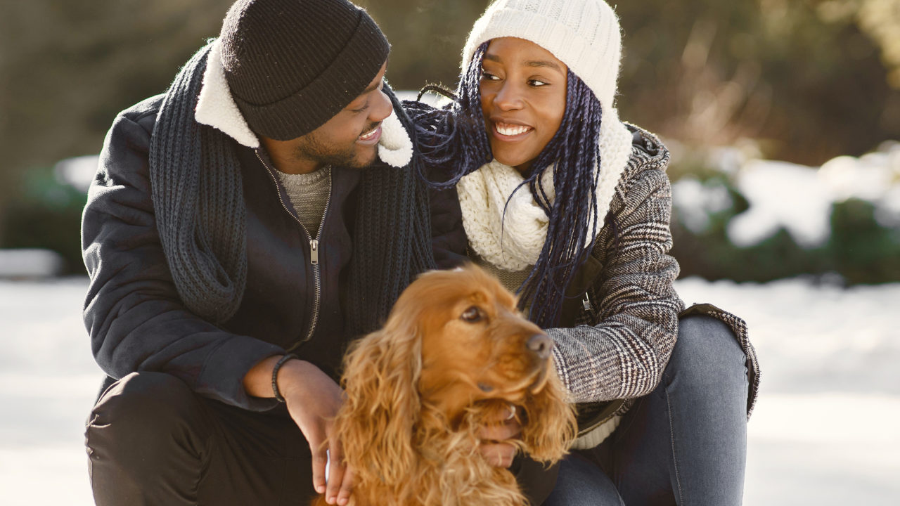 African American Couple In A Winter Forest